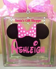 Minnie Mouse w/Bow/Name Decal for Glass Block Bank Birthday