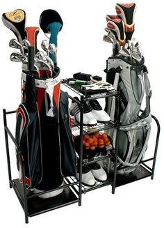 Dual Golf Bag Sport Gear Organizer Garage Shelving Storage Club Shoe Accessories #ProActive