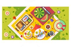 Picnic in the park. Sunny day by TastyVector on Creative Market