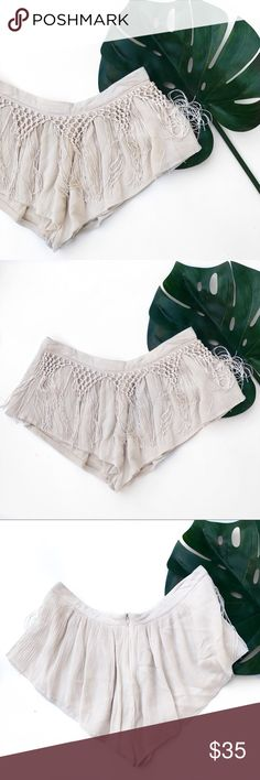 Tobi fringe crochet beige shorts Super cute! All photos are my own of the actual item except last 2. No trades. All prices are flexible, send me an offer! Tobi Shorts