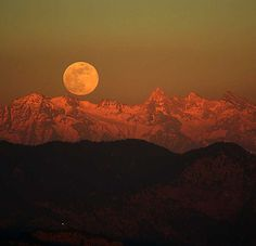 Himalayan Moon - Driving towards Kufri in Himachal Pradesh, we spotted this beautiful moon rising over the Himalayan peaks just before sunset. We were on a road climbing up a mountain-side with evergreen trees all along the side with this scene playing itself out as we saw it through cracks between the branches of the trees.