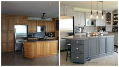 Before and after painted oak kitchen cabinets in gray. Kylie M E-design