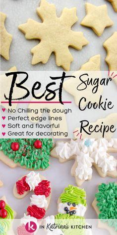 Sugar Cookie Recipe Easy, Easy Sugar Cookies, Christmas Sugar Cookies, Christmas Snacks, Christmas Cooking, Holiday Cookies, Holiday Desserts, Holiday Baking, Christmas Candy
