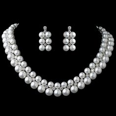 Rhodium White Pearl & CZ Jewelry Set 1314
