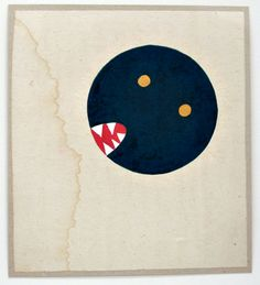 """Anonymous tantric painting (11–10); Legend: The Monster of Time; Sanganer, Rajasthan, 2009; unspecified paint on found paper; 11 x 9.75"""""""