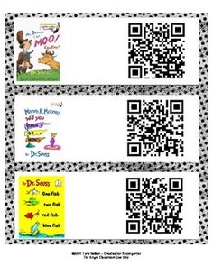 QR Codes are a great way for early readers to listen to great books! This set includes audio QR codes for 14 classic Dr. Seuss stories. Simply print onto standard sized mailing labels, attach to the front of the book and scan using any QR reader app. Easy and fun for kids of all ages!**Updated 4/2/14**This file now contains 2 ways to display the QR codes!