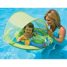 Swimming Pool Lime Green Orange Easy To Lubricate Swimways Baby Spring Float Sun Canopy
