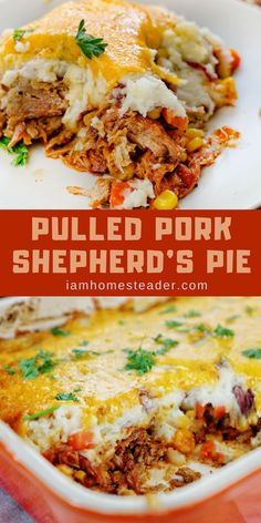 Pulled Pork Shepherd's Pie Want some Left Over Recipes? Try this Pulled Pork Shephard's Pie! A classic dish gets a fun twist by adding pulled pork to this Pulled Pork Shephard's Pie! It's the perfect way to use up any extra pulled pork you have. Shredded Pork Recipes, Pulled Pork Recipes, Recipes With Pulled Pork Leftovers, Leftover Pulled Pork, Leftover Pork Recipes, Pork Recipes For Dinner, Recipes With Pork, Pulled Pork Pasta, Cooked Pork Recipes