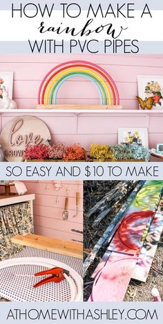 pvc pipe rainbow. How to make a DIY rainbow decor from a few items at the hardware shore. This would be perfect for a nursey, girl bedroom. or a playroom. Click through for an easy to follow tutorial with step by step instructions. This is a coloful craft so fun for a kid space or room! #diy #diyhomedecor
