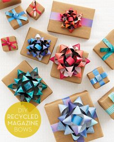 DIY gift bows made from recycled magazines