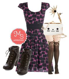 """Black Cat It Again Dress"" by modcloth ❤ liked on Polyvore featuring KLING and plus size dresses"