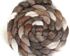 Handpainted Merino Tencel Wool Roving - 4 oz. CAPPUCCINO - Spinning Fiber