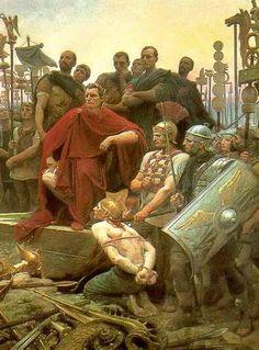 caesar receives vercingetorix Vercingetorix Throws Down his Arms at the Feet of Julius Caesar (1899), Lionel Royer; Crozatier Museum at Le Puy-en-Velay ...