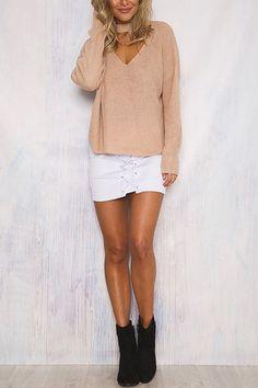 Khaki Fashion V-neck Drop Shoulder Jumper  - US$25.95 -YOINS
