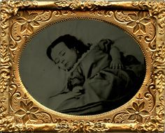 1/9 plate ruby ambrotype of POSTMORTEM girl by WM. B. STERNS