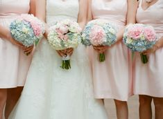 Pink Blue and Cream Hydrangea and Rose Bouquets   photography by http://www.hunterphotographic.com