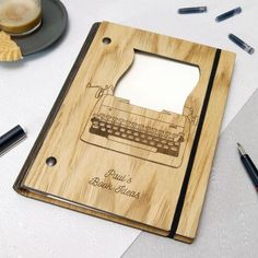 Personalised Wooden Writer's Notebook by Urban Twist, the perfect gift for Explore more unique gifts in our curated marketplace. Writers Notebook, A5 Notebook, Cnc, The Doodler, Living Hinge, Wood Gift Box, Laser Cutter Projects, Custom Journals, Teak Oil
