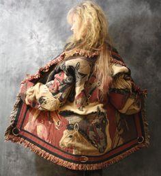 Vintage Dress Blanket Coat Jacket Fringe Tapestry Horses Horse Equestrian Clothing Coat Bohemian Hippie Majik Horse 1980s 1990s