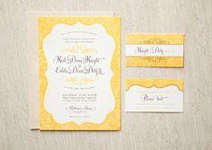 Yellow Vintage Wedding Invitation & Reply Card. $75.00, via Etsy.