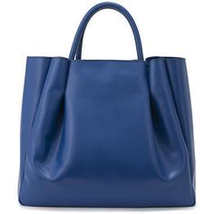 Alexandra de Curtis Blue Leather Maxi Ruched Tote