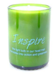 """Love this!  INSPIRE Soy Candle – """"the light bulb in our head that translates into action and greatness"""""""