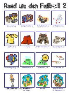 Arbeitsblatt- Bildwörterbuch- ÜbungsblattWortschatz: Nomen/ Fußball (16 Begriffe)Umfang: 2 Seiten - DaF Arbeitsblätter