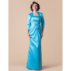 Sheath/Column Strapless Floor-length Satin Mother of the Bride Dress With A Wrap – USD $ 199.99