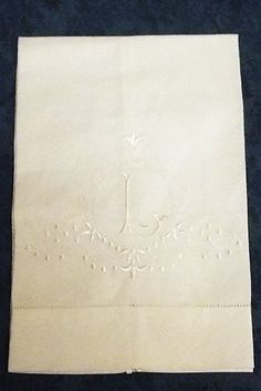 Large White Linen Guest Bathroom Hand Towel monogrammed  L hemstitched whites