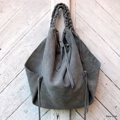RESERVED for Erin Slouchy Leather Erin Style Hobo Bag in Gray Suede by Stacy Leigh