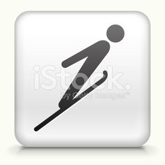 Square Button with Ski Jump royalty free vector art royalty-free stock vector art