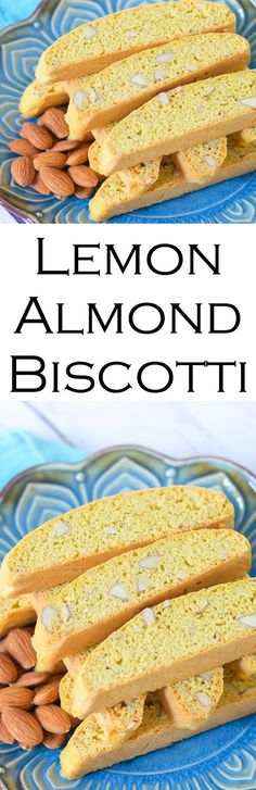 Lemon Almond BIscotti - an easy Italian cookie recipe that's low in fat. made with eggs and no butter, these lemon almond biscotti are perfect with coffee and tea. Keep them in the freezer and pull one or two out as you need them!