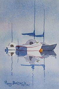 "Sailboat Sketch I by Poppy Balser Watercolor ~ 7"" x 5"""
