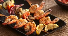 Get lots of flavor with little fat with these shrimp and vegetable kabobs that%u2019s seasoned with Perfect Pinch Lemon & Pepper Seasoning.