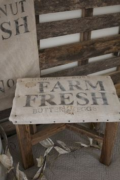 burlap covered foot stool a fine farmhouse Stool for in kitchen, chef chair. Something to rest on while cooking