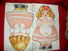 """Each doll is lithographed on both sides in color along with her name:""""Goldilocks"""". (""""Daddy Bear"""", Momma Bear and baby Johnny Bear would be needed to complete the sets.). Goldilocks holds a bowl ofKELLOGG'S cereal in her hands and wears printed clothing. 