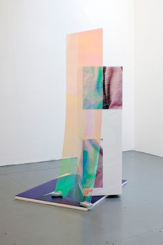 "Anouk Kruithof, ""Sweaty Sculpture (Back)"", 2015. Flatbed print on plexiglass, sponges, cellophane, radiant plexiglass, and photostickers on polystyrene, 167x90x107 cm."