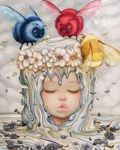 """★UPCOMING EXHIBITION ★ SUBMERGED Solo Show by Camilla d'Errico Artwork's detail """"Trinity""""16x20""""/40x50 cm - Oil on wood Panel  info & waiting list sales@dorothycircusgallery.com  #camilladerrico #dorothycircusgallery #rome #popsurrealism #upcomingexhibition #painting #rainbow #butterfly #colours"""