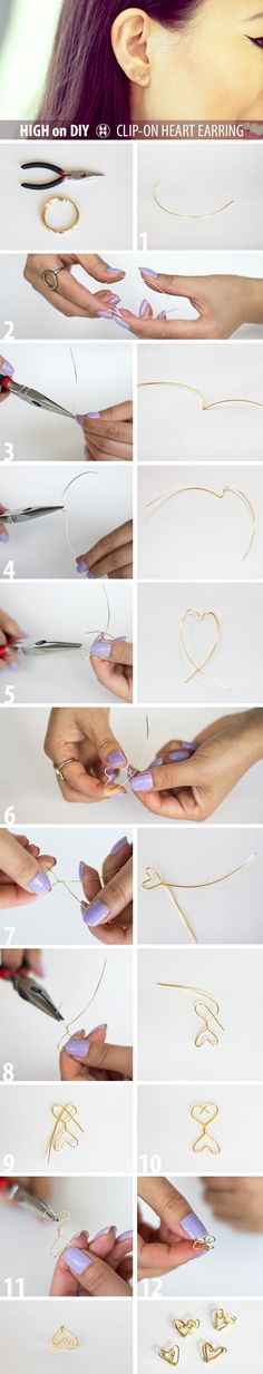 DIY Clip-On Heart Shape Earrings #DIY #Jewelry #Accessories