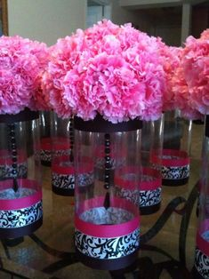 Pink Damask Black Centerpieces W Carnations