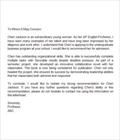Recommendation Letter For Graduate School Application  Grad