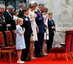 King Philippe, Queen Mathilde, Crown Princess Elisabeth, Princess Eleonore, Prince Gabriel and Prince Emmanuel of Belgium attended the Te Deum mass on the occasion of today's Belgian National Day, at the Saint Michael and St Gudula Cathedral on July 21, 2016 in Brussels.
