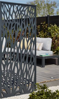 Panneau feuille aluminium Neva anthracite Enjoy the simplicity of installation of this fence that will allow you to delimit and … Painted Bedroom Doors, Gate Decoration, Mid Century Exterior, Laser Cut Panels, Privacy Screen Outdoor, Decorative Screens, Water Features In The Garden, Small Garden Design, Contemporary Garden