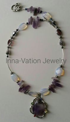 #Inspired by #purple #crocuses. #Elegant #necklace. #Amethyst, #moon #stone, #crystals, #silver-plated #glass beads, #easy to use #beautiful #clasp. #57USD + shipping within US.