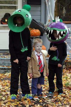 Plants vs. Zombies Halloween costumes (Pea Shooter, Chomper, Zombie) made with paper mache from Boys, Building, Books & Berries