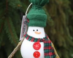 Snowman Christmas Tree Ornament - made from a recycled lightbulb (E)