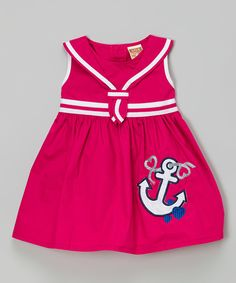 Another great find on #zulily! Lele for Kids Fuchsia Anchor Dress - Toddler & Girls by Lele for Kids #zulilyfinds