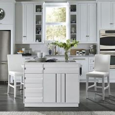 Home Styles Linear White Kitchen Island and Stools - The Home Depot Island Stools, Stools For Kitchen Island, Modern Kitchen Island, White Kitchen Cabinets, Kitchen Cabinet Design, Interior Design Kitchen, Modern Interior Design, Bar Stools, White Kitchens