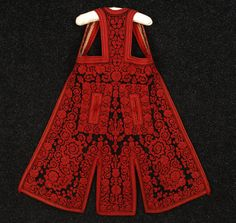 ALBANIAN EMBROIDERED VEST, EARLY C. Long black wool felt densely embroidered with red cotton floral, having red felt trim, printed cotton twill lining. (Lining stained, wear inside neck and to felt at hem) exterior excellent. Historical Costume, Historical Clothing, Ethno Style, Folk Clothing, Red Felt, Mode Masculine, Folk Costume, Ethnic Fashion, Black Wool