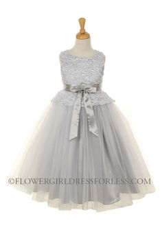 Girls Dress Style 5715 - SILVER- Tulle Dress with Lace Overlay Bodice