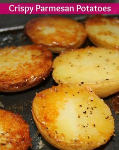 I love potatoes - mashed, scalloped, fried, roasted. This Crispy Parmesan Potatoes recipe is our new favorite, though. Potato Dishes, Food Dishes, Gold Potato Recipes, Potato Ideas, Crispy Parmesan Potatoes, Roasted Potatoes, Parmasean Potatoes, Yukon Potatoes, Snacks